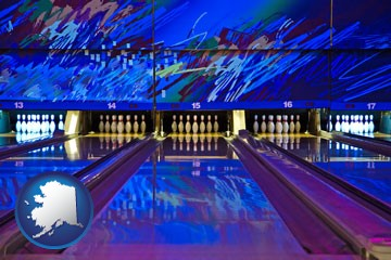 a bowling alley with an abstract wall mural - with Alaska icon