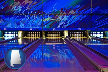 a bowling alley with an abstract wall mural - with Alabama icon