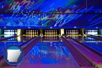 a bowling alley with an abstract wall mural - with Arkansas icon
