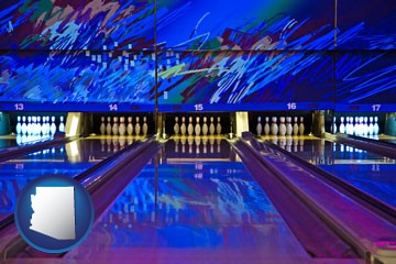 a bowling alley with an abstract wall mural - with Arizona icon