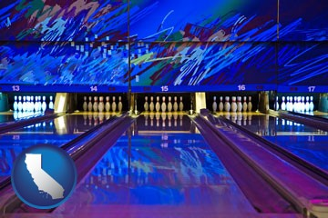 a bowling alley with an abstract wall mural - with California icon