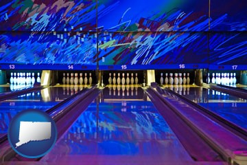 a bowling alley with an abstract wall mural - with Connecticut icon