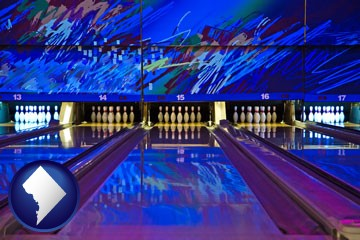 a bowling alley with an abstract wall mural - with Washington, DC icon