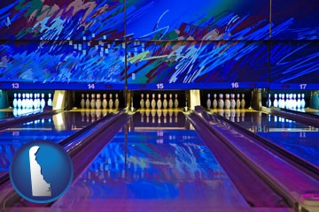 a bowling alley with an abstract wall mural - with Delaware icon