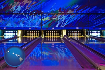 a bowling alley with an abstract wall mural - with Hawaii icon
