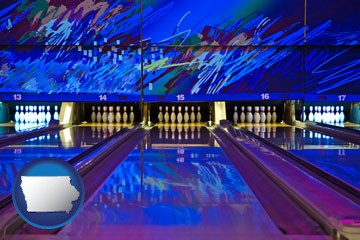 a bowling alley with an abstract wall mural - with Iowa icon