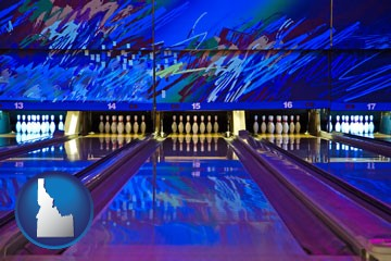 a bowling alley with an abstract wall mural - with Idaho icon