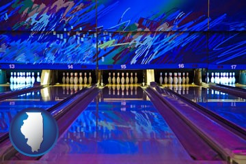 a bowling alley with an abstract wall mural - with Illinois icon