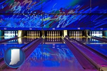 a bowling alley with an abstract wall mural - with Indiana icon