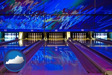 a bowling alley with an abstract wall mural - with Kentucky icon