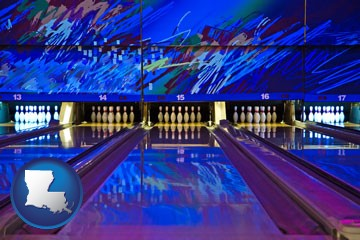 a bowling alley with an abstract wall mural - with Louisiana icon