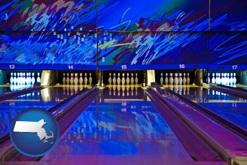 a bowling alley with an abstract wall mural - with Massachusetts icon