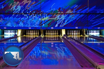 a bowling alley with an abstract wall mural - with Maryland icon