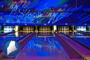 a bowling alley with an abstract wall mural - with Maine icon