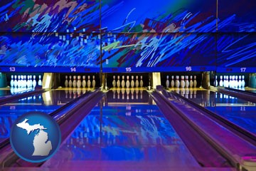 a bowling alley with an abstract wall mural - with Michigan icon