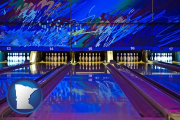 a bowling alley with an abstract wall mural - with Minnesota icon
