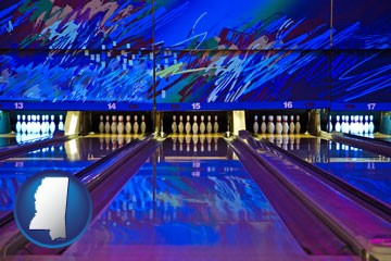 a bowling alley with an abstract wall mural - with Mississippi icon