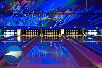 a bowling alley with an abstract wall mural - with North Carolina icon