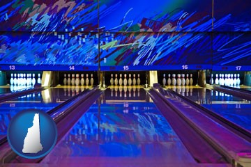 a bowling alley with an abstract wall mural - with New Hampshire icon