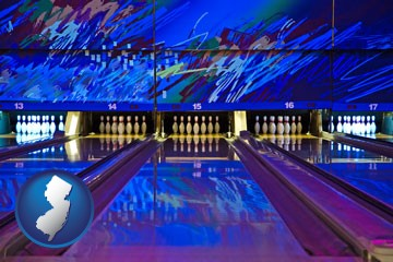 a bowling alley with an abstract wall mural - with New Jersey icon