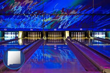 a bowling alley with an abstract wall mural - with New Mexico icon