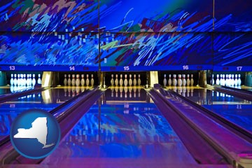 a bowling alley with an abstract wall mural - with New York icon
