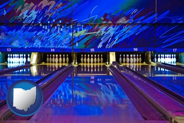 a bowling alley with an abstract wall mural - with Ohio icon