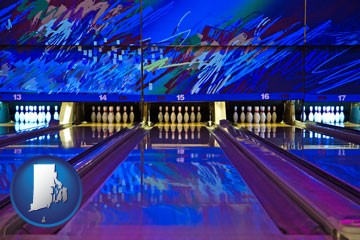 a bowling alley with an abstract wall mural - with Rhode Island icon