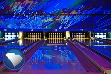 a bowling alley with an abstract wall mural - with South Carolina icon