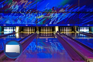 a bowling alley with an abstract wall mural - with South Dakota icon