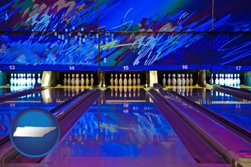 a bowling alley with an abstract wall mural - with Tennessee icon