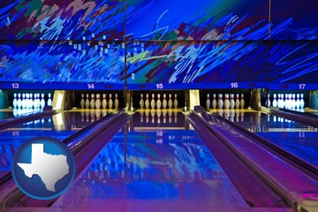 a bowling alley with an abstract wall mural - with Texas icon