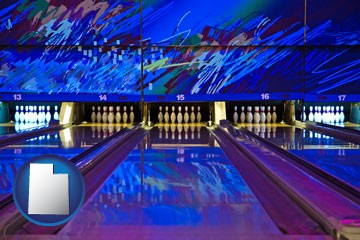 a bowling alley with an abstract wall mural - with Utah icon