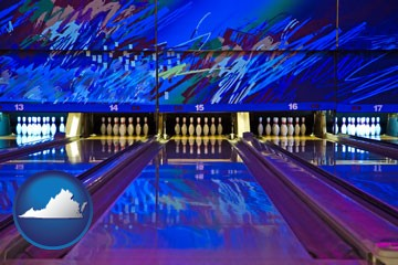 a bowling alley with an abstract wall mural - with Virginia icon