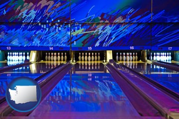 a bowling alley with an abstract wall mural - with Washington icon