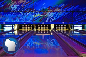 a bowling alley with an abstract wall mural - with Wisconsin icon