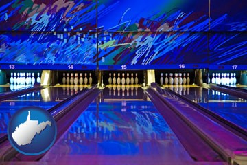 a bowling alley with an abstract wall mural - with West Virginia icon